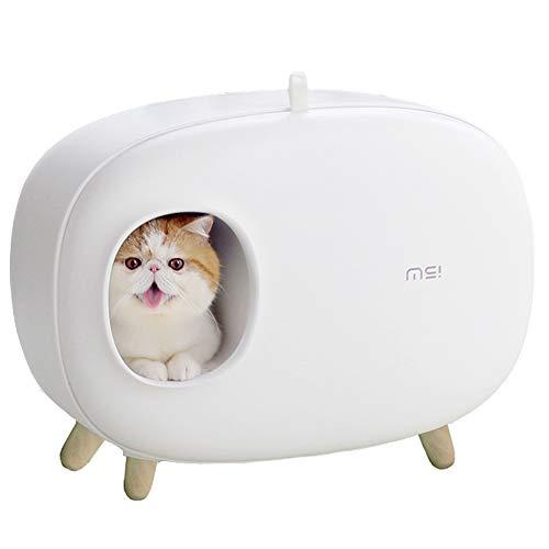 Dvuboo Arenero para Gatos Plástico Autolimpiable Desodorante A Prueba de Salpicaduras Semicerrada Plástico Aseo Gato, Reutilizable Fácil de Limpiar Inodoro Gato,Blanco