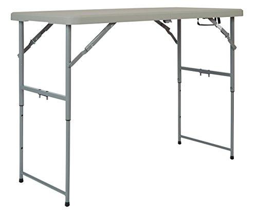 Office Star Resin Multipurpose Rectangle Table, 4-Feet Long, Height Adjustable, Center Folding Table