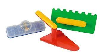 HOFF Kit Macon Enfant 3 Pieces (truelle, Niveau, taloche) - Plastique - Outils de Plage, bac a Sable
