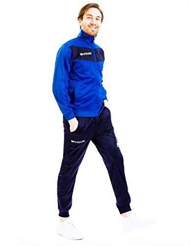 menitashop Tuta GIVOVA Uomo Donna Visa Fitness Calcio Blu Nero Bianco Giallo Rosso (Azzurro/Blu, XL)