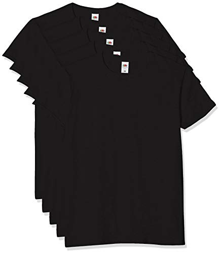 Fruit of the Loom Iconic, Lightweight Ringspun Tee, 5 Pack T-Shirt, Nero (Black 36), XXX-Large (Pacco da 5) Uomo