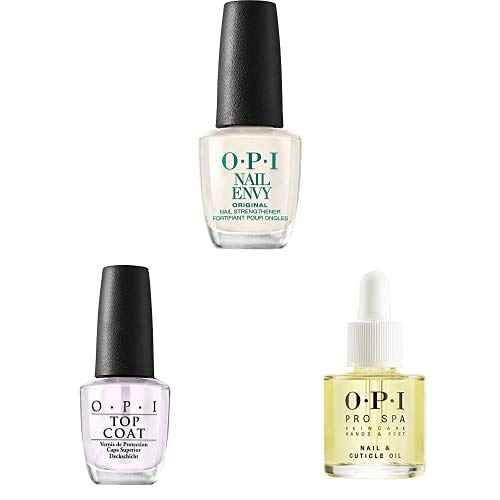 OPI Nail Strengthener, Original Nail Envy Nail Strengthener, OPI Nail Polish Top Coat, Protective High-Gloss Shine, OPI ProSpa Collection, Manicure Nail & Cuticle Oil and Skin Care Essentials