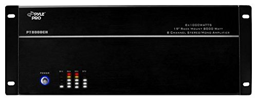 4 Multi-Zone Bluetooth Stereo Amplifier - 19 Rack Mount, Powerful 8000 Watts with Speaker Selector Volume Control & LED Audio Level Display - 4-Ch. Bridgeable Switches - PT8000CH