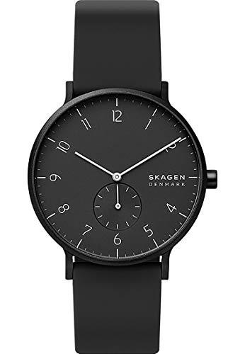 Skagen Herren Analog Quarz Uhr mit Silicone Armband SKW6544