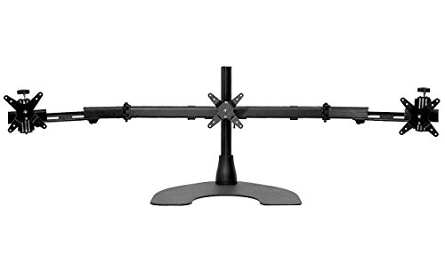 Ergotech Triple LCD Monitor Desk Mount Stand with Telescopic Wings, Fully Adjustable Mount for 3 Screens up to 27 inches, 25 lbs. Weight Capacity per Pivot, Black