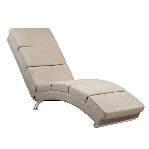 Casaria Chaise Longue London 186x55cm Effetto Lino Sedia a Sdraio Relax ergonomica Divano Poltrona Soggiorno Sabbia