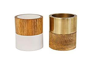 REVERSIBLE: Each 2 Inch Wide x 2.25 Inch Tall Tea Light Candles Can Be Placed In Either Side Of Each Candle BEAUTIFUL DESIGN: These Wood Mix Candles Are The Perfect Minimalist Modern Design To Match Any Home Style GREAT GIFT: These Candle Holders Wou...