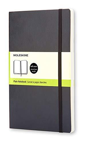 Moleskine Cuaderno Clásico con Hojas Lisas, Tapa Blanda y Cierre Elástico, Color Negro, Tamaño Grande 13 x 21 cm, 192 Hojas