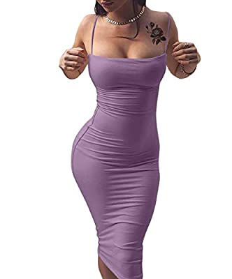 Material:90%Polyester and 10% Spandex,cozy and soft fabric,Super Stretchy US Size: S:4-6,M:8-10,L:12-14,XL:16-18 Features:sexy,adjustable spaghetti strap,backless,sleeveless,bodycon,midi,tight,solid color,elegant,slim,classy Suitable for:night club,c...