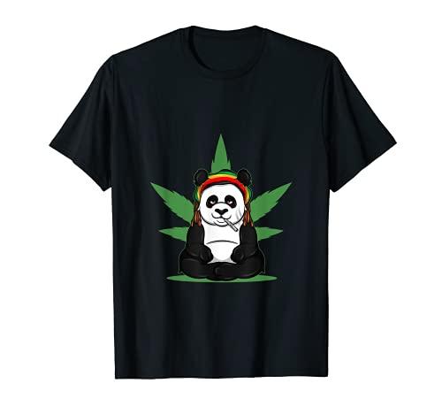 Marihuana Fumar Bong Panda Con Una Articulación Para Un Fumador Camiseta