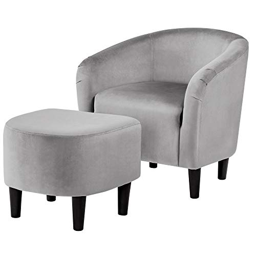 YAHEETECH Accent Chair with Ottoman Set Barrel Sofa Chair and Footrest Living Room Chair Ottoman Lounge Chair with Footstool Velvet Grey