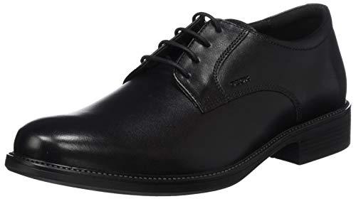 Geox Uomo Carnaby D, Zapatos de Cuero con Cordones para Hombre, Negro (Black 9999), 44 EU