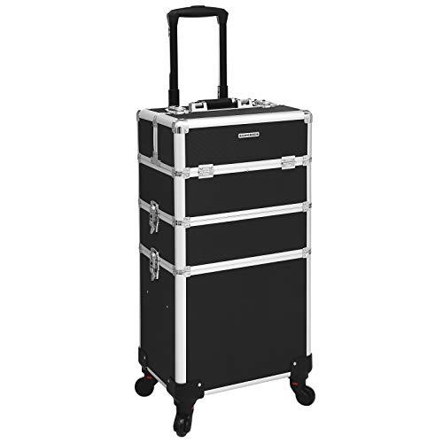 SONGMICS 3 in 1 Valigia da Trucco Professionale, Beauty Trolley da Viaggio, Carrello Cosmetico per...
