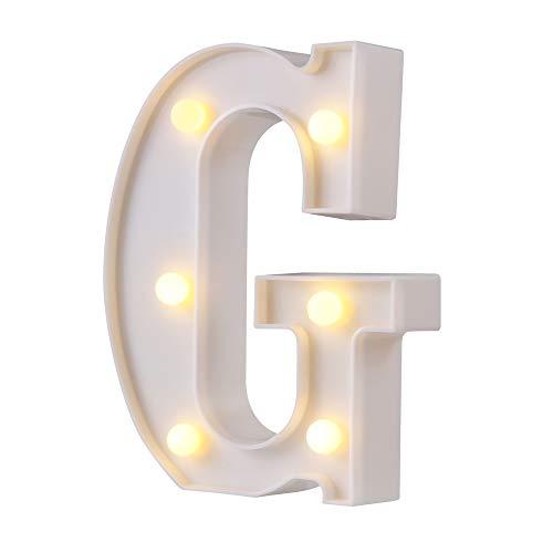 Luci della lettera della tenda foranea a LED, 26 alfabeto lettere luminose segno perfetto per la luce notturna matrimonio festa di compleanno decorazione bar a casa lampada di natale (bianco, G)