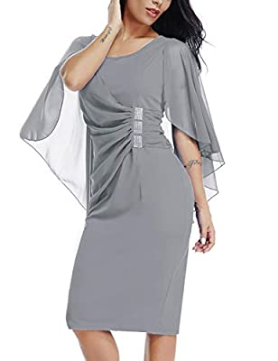 &#10148 Perfect Design -- Plus size pencil dress features chiffon overlay,scoop neck, this flowy layer hides a lot! &#10148 Tips -- Please iron this plus size flattering dress before putting them on. As chiffon overlay style, wrinkles may appear in t...