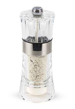 Peugeot Oslo Moulin à sel humide manuel, Réglage mouture Classique, Couleur : Transparent/Inox, Taille : 14 cm, Matière : Acryl/Inox, 34573
