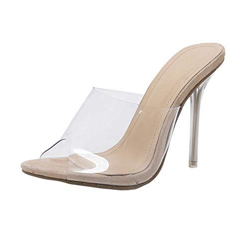 Sandalias Transparentes de tacón Alto para Mujer Tacón Fino Peep Atractivo Sandalias de Tacones Altos Talon Grueso Casual Roma Zapatillas Zapatos Cómodo Tamaño Grande riou