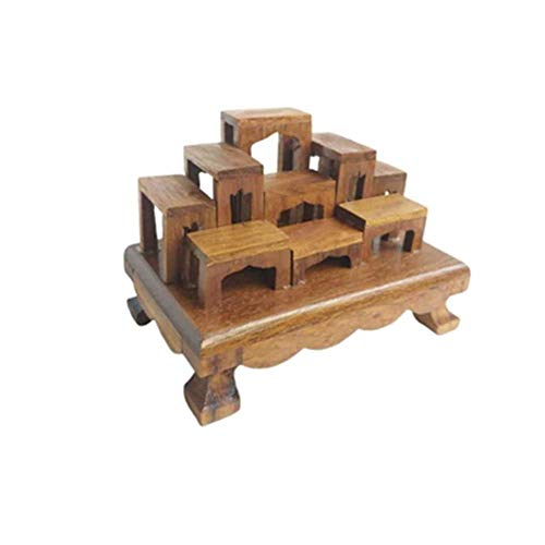 Cozinest Dollhouse Mini Altar Thai Buddha Worship Miniature Wood Set 9 Amulet Table Teak Shelf for Tiny Item 2.7' x 4.2' x 3'