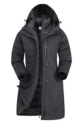 Mountain Warehouse Giacca Invernale Alaskan Womens 3 in 1 - Impermeabile 10.000 mm, Cappotto Imbottito da Donna, Giacca Interna Rimovibile - per l'escursionismo Nero Jet 42