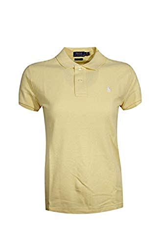Ralph Lauren Polo Womens Classic Fit Mesh Polo Shirt (Large, Banana Peel (White Pony))