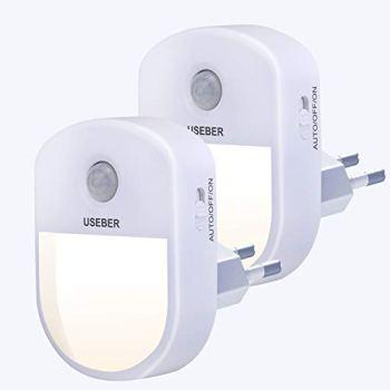 Lampe Nuit [Lot de 2], Useber Veilleuse LED avec Détecteur de Mouvement Capteur de Lumière, 3 modes (Auto/Marche/Arrêt),Veilleuse Enfant pour Chambre Bébé, Salon, Garage, Salle de Bains et Couloir