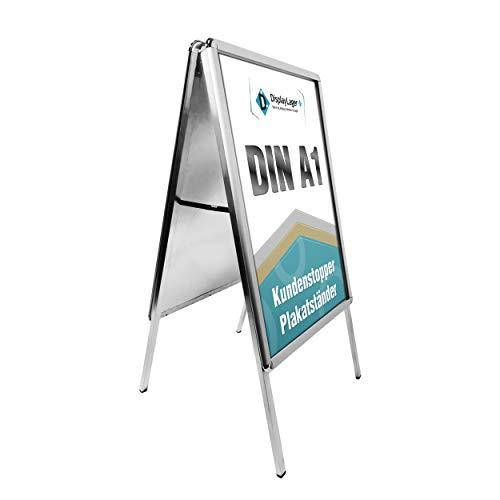 Kundenstopper Alu-Line Rondo DIN A1 für 2 Plakate(beidseitig) - Wetterfest Plakatständer Gehwegaufsteller Werbetafel