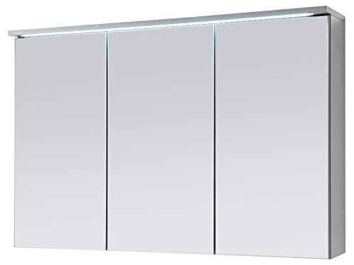 Spiegelschrank Badschrank Spiegel Badhängeschrank Badmöbel Kirkja I Titan/Weiß 100 cm
