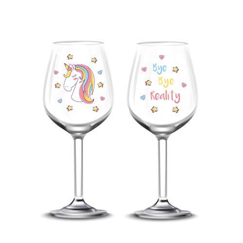 EinhornLiebe® Unicornio Amor® Set de copas de vino Unicornio Cristal Bye Bye Reality Vino Tinto Vino Blanco 2Unidades en caja regalo