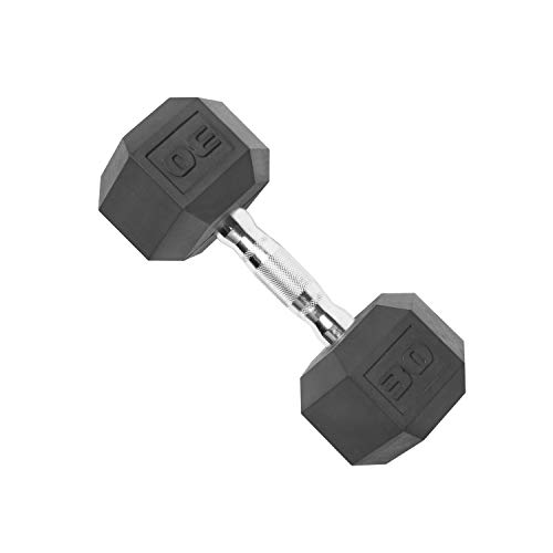 CAP Barbell SDP-030 Color Coated Hex Dumbbell, Black, 30 pound, Single