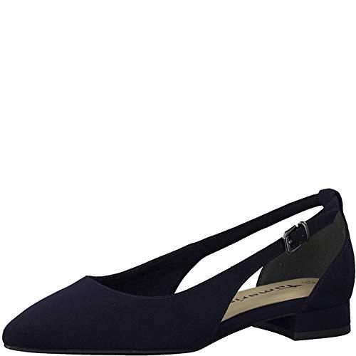 Tamaris Mujer Merceditas 22112-24, señora Bailarinas con Tira de Tobillo, Slingback,Zapatos Planos,Zapatos de Verano,Navy Suede,40 EU / 6.5 UK