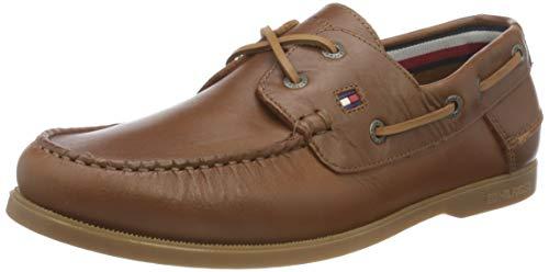 Tommy Hilfiger Classic Leather Boat Shoe, Náuticos Hombre, De Color Caqui del Desierto, 43 EU