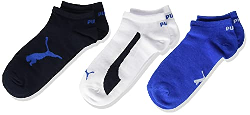 PUMA Kids' BWT Sneaker-Trainer Socks (3 Pack) Calzini, Navy/White/Strong Blue, 31/34 Unisex-Bambini