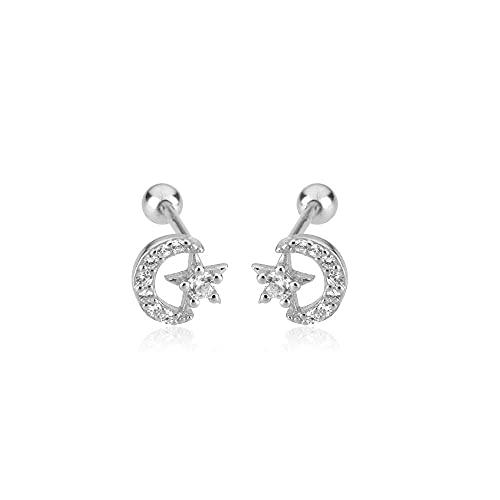 Argento sterling chiaro zircone luna orecchini piercing clip di lusso rock punk party gioielli di San Valentino-argento_bianco