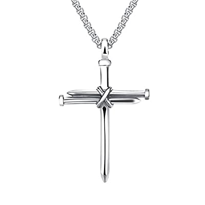 Nail cross pendant: Inspired by Jesus' cross, the nails are held together to form a cross necklace Material: 316l stainless steel. Nickel free, highly resistant to rust, lasting color retaining, polished finish Come with a 24 inch stainless steel lin...