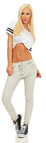 Fashion4Young-11105-Damen-Jeans-Hose-Boyfriend-Baggy-Haremsjeans-Slim-fit-Rhre-Damenjeans-Pants-beige-S-36