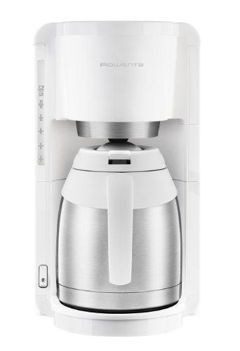 Rowenta CT3811 Filter- Kaffeemaschine Adagio Milano | Mit Edelstahl-Thermokanne | 10-15 Tassen | Automatische Abschaltung | Weiß/ Edelstahl