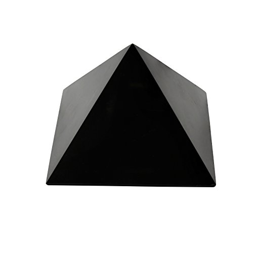 Heka Naturals Pirámide de Piedra Shungit Pulida 5 cm con Fullerenos | Auténtica Piedra Shungita de Karelia, Rusia | Pirámide Pulida de 5 cm