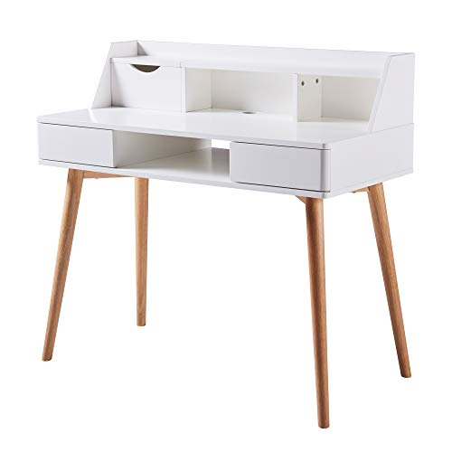 Versanora Creativo White Work Study Table Desk with Storage Drawer...