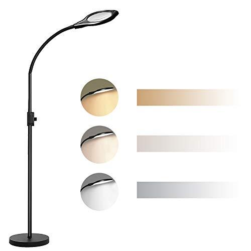 JOYPEA 2X-4X LED Magnifying Floor Lamp,Height Adjustable Gooseneck Standing Light,Adjustable Color Temperature 3000K-5500K,Perfect for Reading,Task Crafts- Black