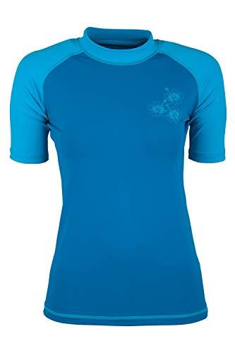 Mountain Warehouse Kurzärmeliges Badeshirt mit UV-Schutz für Damen - LSF50+, schnelltrocknendes Rash Guard, Flache Nähte - Für Schwimmen, Strand - unter Neoprenanzug Blau 38 DE (40 EU)