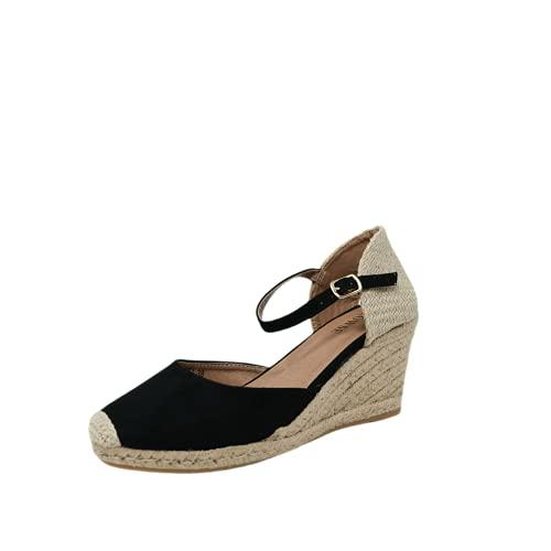 Valencianas- Alpargatas Negras-Zapatos de Cuña Mujer (numeric_37)