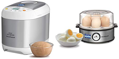 KENT Instant Egg Boiler 360-Watt (Transparent and Silver Grey) & Atta and Bread Maker 550-Watt (Steel Grey) Combo