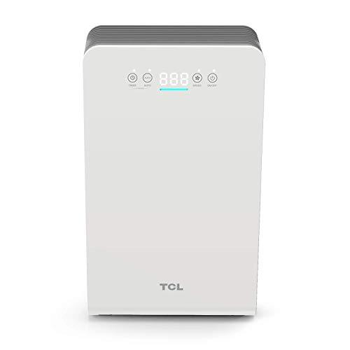 TCL Purificatore d'aria, fino a 25 m2 con Sensori di livello di Inquinamento, 3 Sistemi di Filtrazione, 4 Velocità, 54W, 220 CADR, Modalità Sospensione, Timer, Bianco.