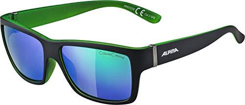 Alpina Sonnenbrille Sport Style KACEY Fahrradbrille, Black matt-Green, One Size