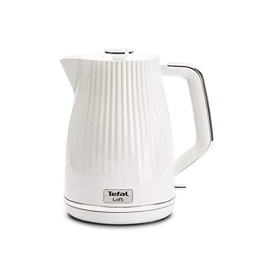 Tefal Bouilloire en plastique 1,7 L 2400 W pour théière électrique Loft Blanc   Filtre anticalcaire amovible   BPA FREE   KO250830   Auto-Off
