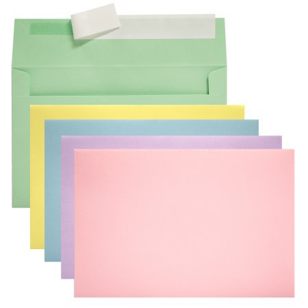 Invitation Social Envelopes with Peel & Stick Closure, Assorted Pastels 50ct, A6 SIZE