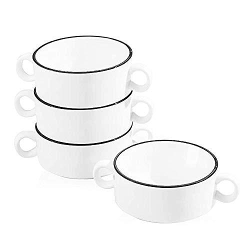 AWYGHJ Tazones de Sopa de cerámica con Asas Dobles, Sopa de