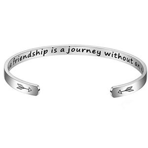 BFJLIFE Inspirational Cuff Bangle Bracelet Personalized Motivational Mantra Engraved Quote 316L Surgical Stainless Steel Bracelet