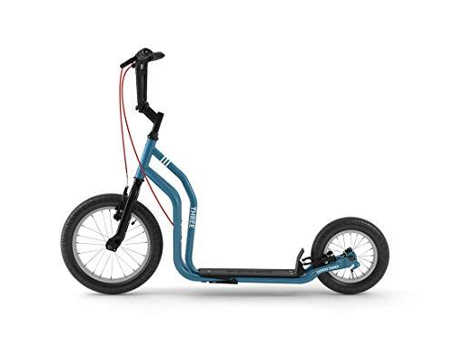 Yedoo Three Tretroller - ab 140 cm Körperhöhe, bis 120 kg, mit Luftreifen 16/12 - Cityroller für Erwachsene und Kinder mit verstellbaren Lenker und Ständer, blau
