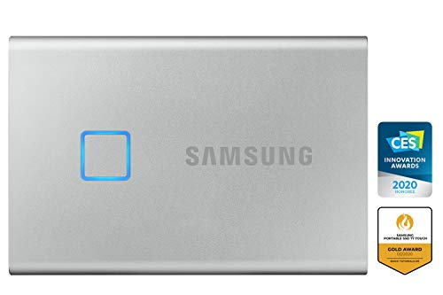 Samsung Galaxy Z Flip (Gold, 8GB RAM, 256GB Storage)-Samsung T7 Touch 1TB USB 3.2 Gen 2 (10Gbps, Type-C) External Solid State Drive (Portable SSD) Silver (MU-PC1T0B) 5